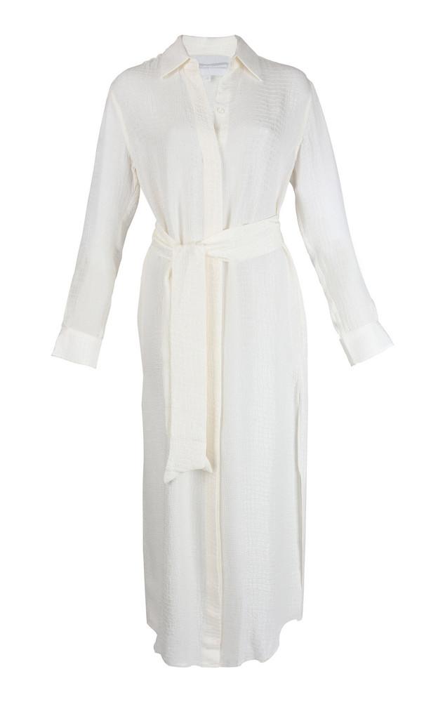 Marie France Van Damme Croco Silk-Jacquard Shirt Dress in white