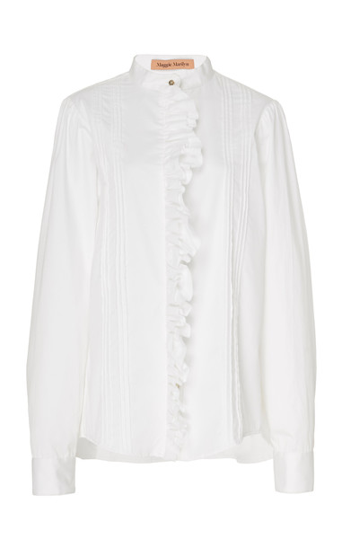 Maggie Marilyn Lets Be Honest Ruffled Shirt Size: 6 in white