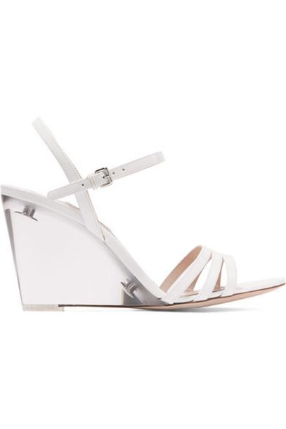 Miu Miu - Perspex And Leather Wedge Sandals - White