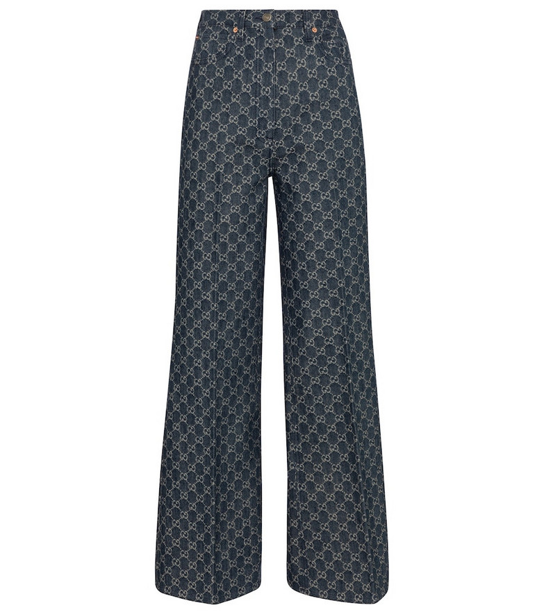 Gucci GG jacquard high-rise wide-leg jeans in blue