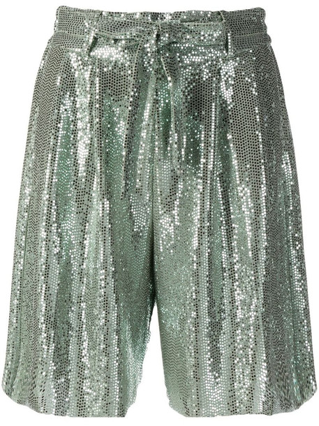 Forte Forte high-shine pleated shorts in green