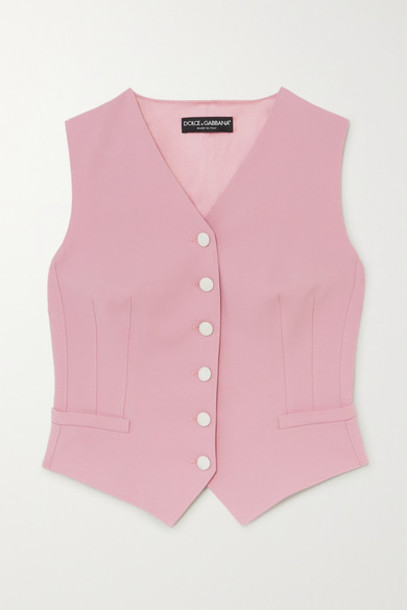 Dolce & Gabbana - Wool-blend And Silk-blend Satin Vest - Pink