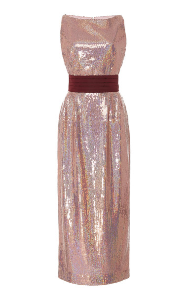 Markarian Exclusive Kashni Iridescent Sequin Midi Dress in pink