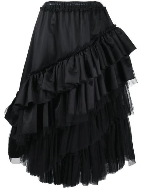 Viktor & Rolf Tequila Sunrise ruffled satin skirt in black