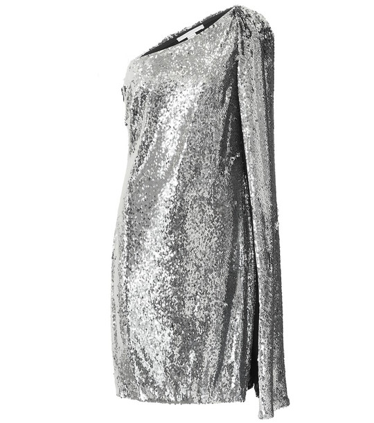 Stella McCartney One-shoulder sequined minidress in silver
