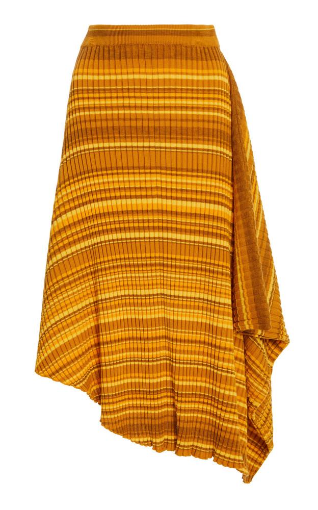 JW Anderson Infinity Asymmetric Striped Wool Skirt in yellow