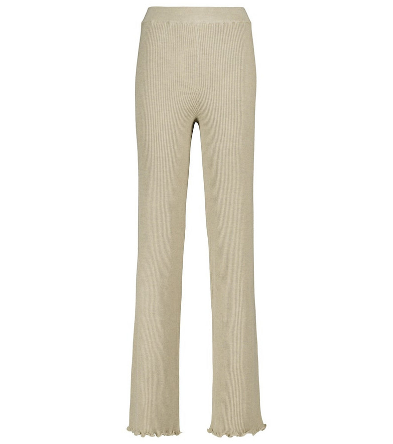 The Row Ribbed silk and cotton pants in beige