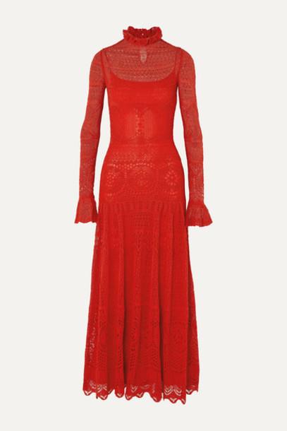 Alexander McQueen - Ruffled Crocheted Cotton-blend Lace Maxi Dress - Red