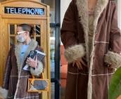 coat,sydney carlson,trench coat,faux fur,winter coat,brown,brown coat