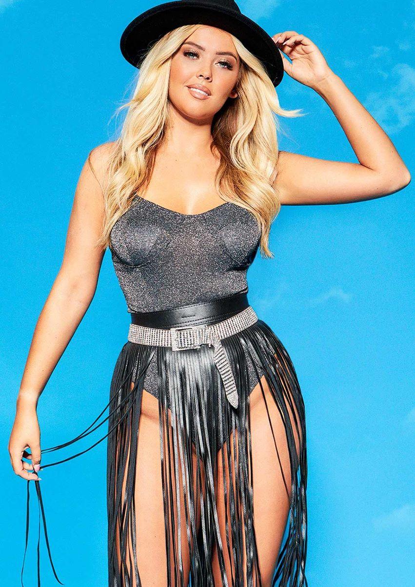 Dina Black Glitter Cupped Bodysuit