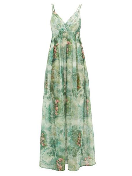 La Costa Del Algodón - Juliette Flamingo-print Cotton-muslin Nightdress - Womens - Green Print