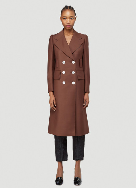 Prada Double-Breasted Wool Coat in Brown size IT - 40