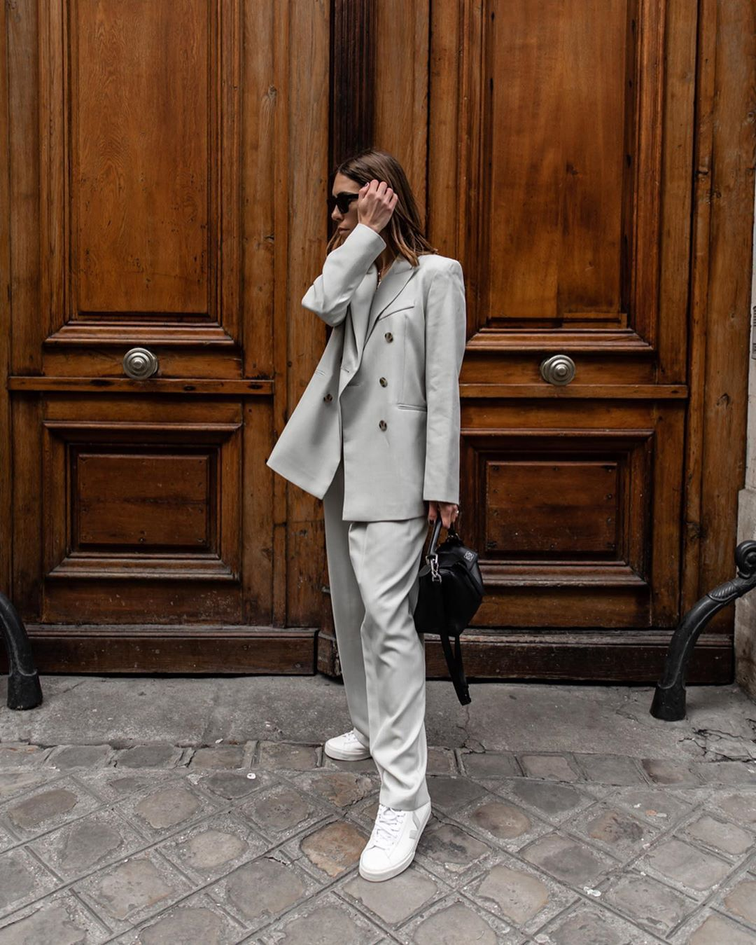 jacket blazer double breasted topshop straight pants white sneakers black bag