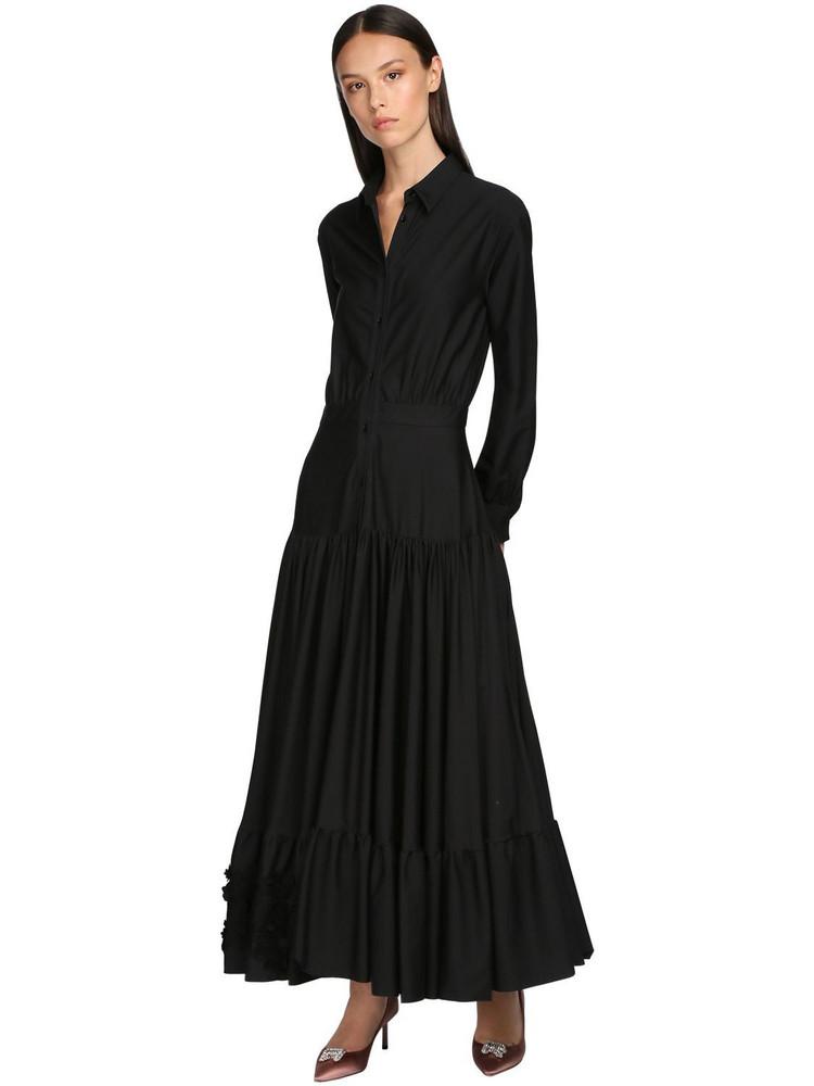 ROCHAS Cotton Poplin Chemisier Dress W/lace in black