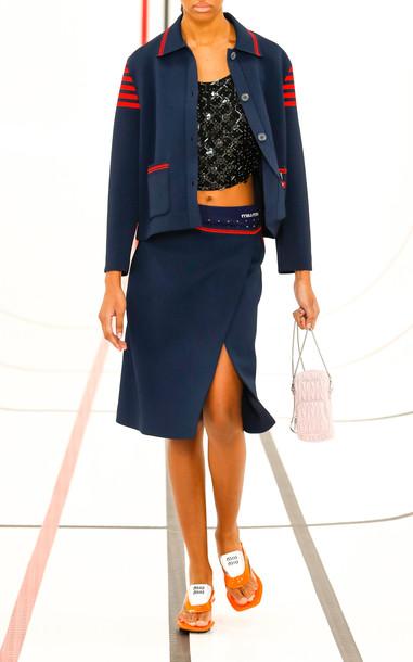 Miu Miu Flared Knit Skirt in navy