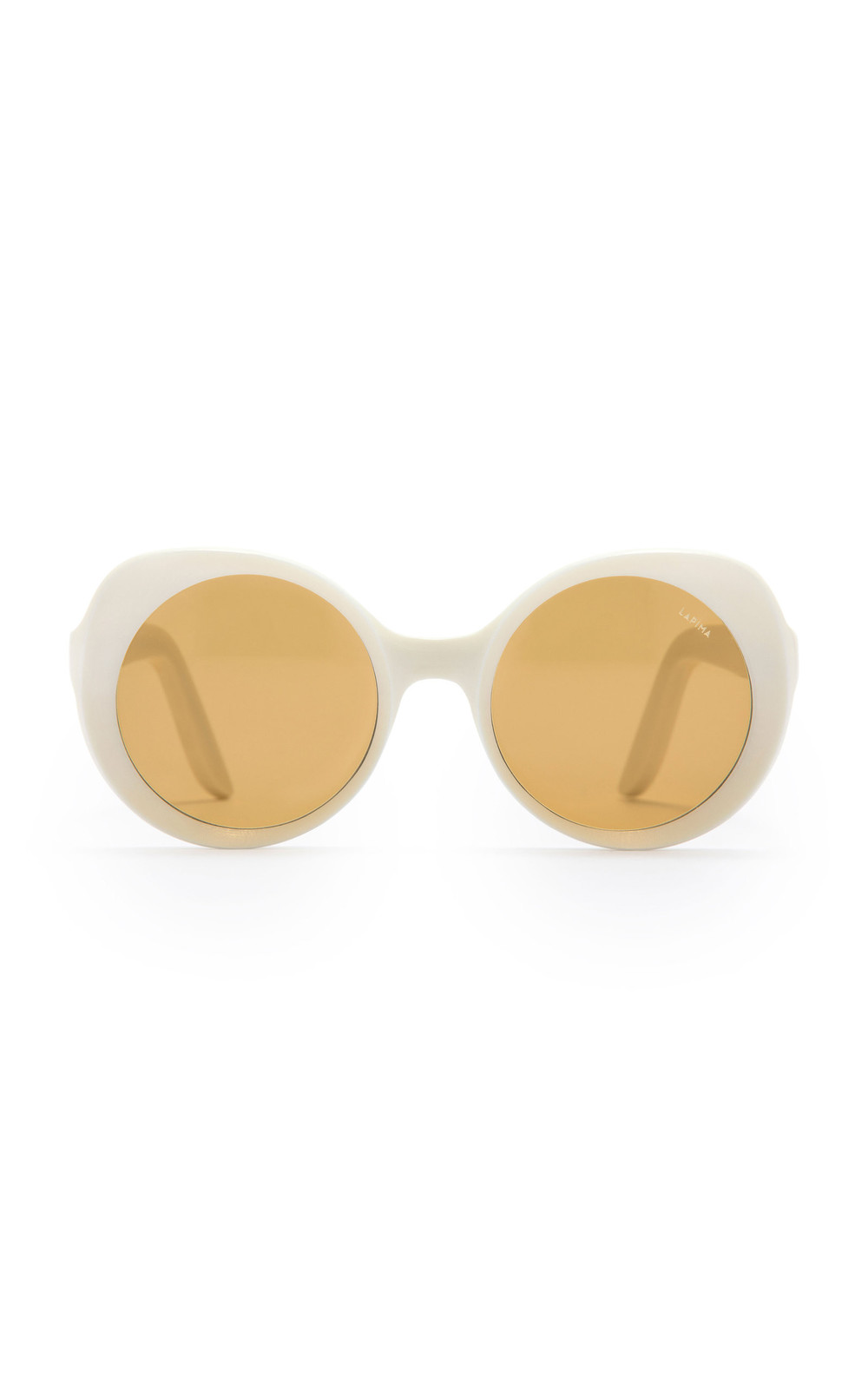 Lapima Carlota Round-Frame Acetate Sunglasses in white