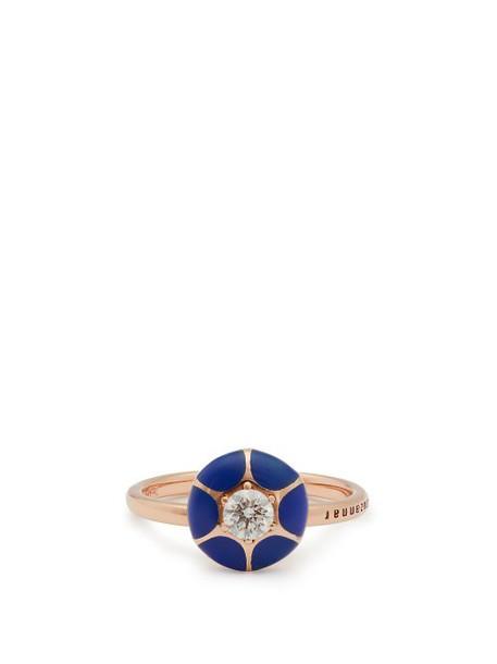 Selim Mouzannar - Sea Flowers 18kt Rose Gold Diamond Ring - Womens - Blue