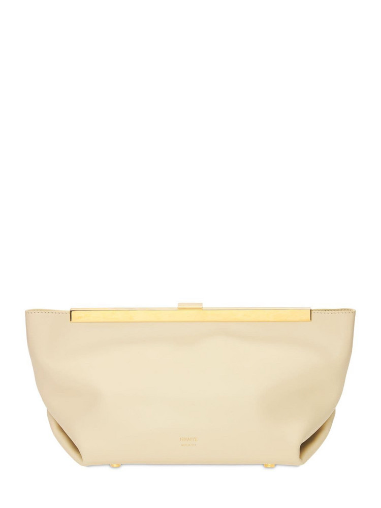 KHAITE Aimee Butter Leather Clutch in cream