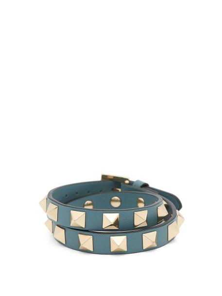 Valentino - Rockstud Leather Wrap Bracelet - Womens - Blue