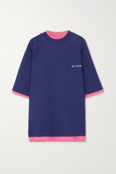 we11done - Oversized Reversible Printed Cotton-jersey T-shirt - Navy