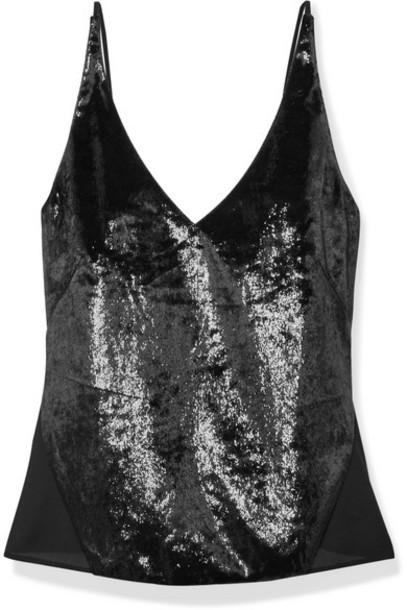J Brand - Lucy Metallic Velvet And Chiffon Camisole - Black