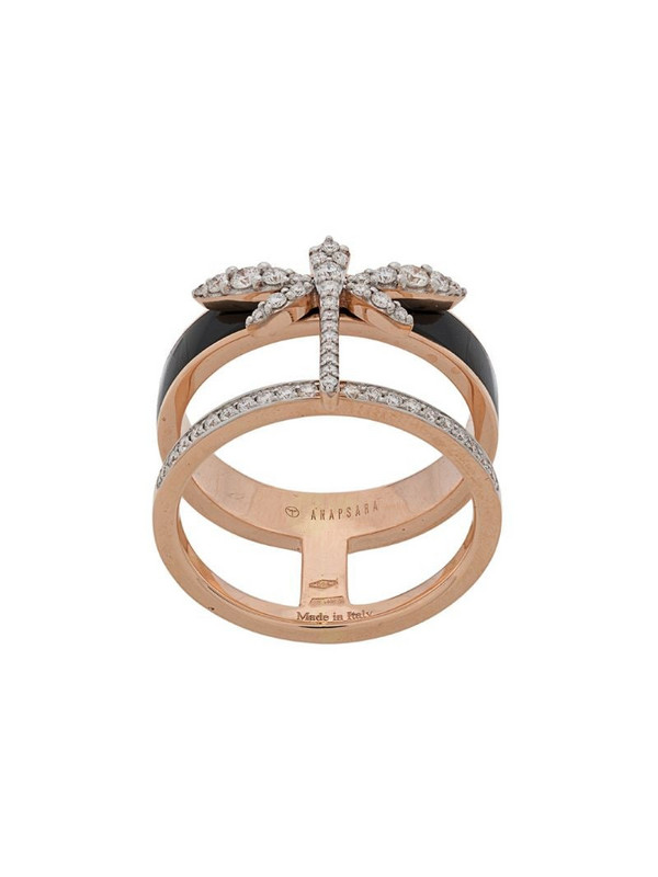 Anapsara dragonfly finger ring in gold / rose