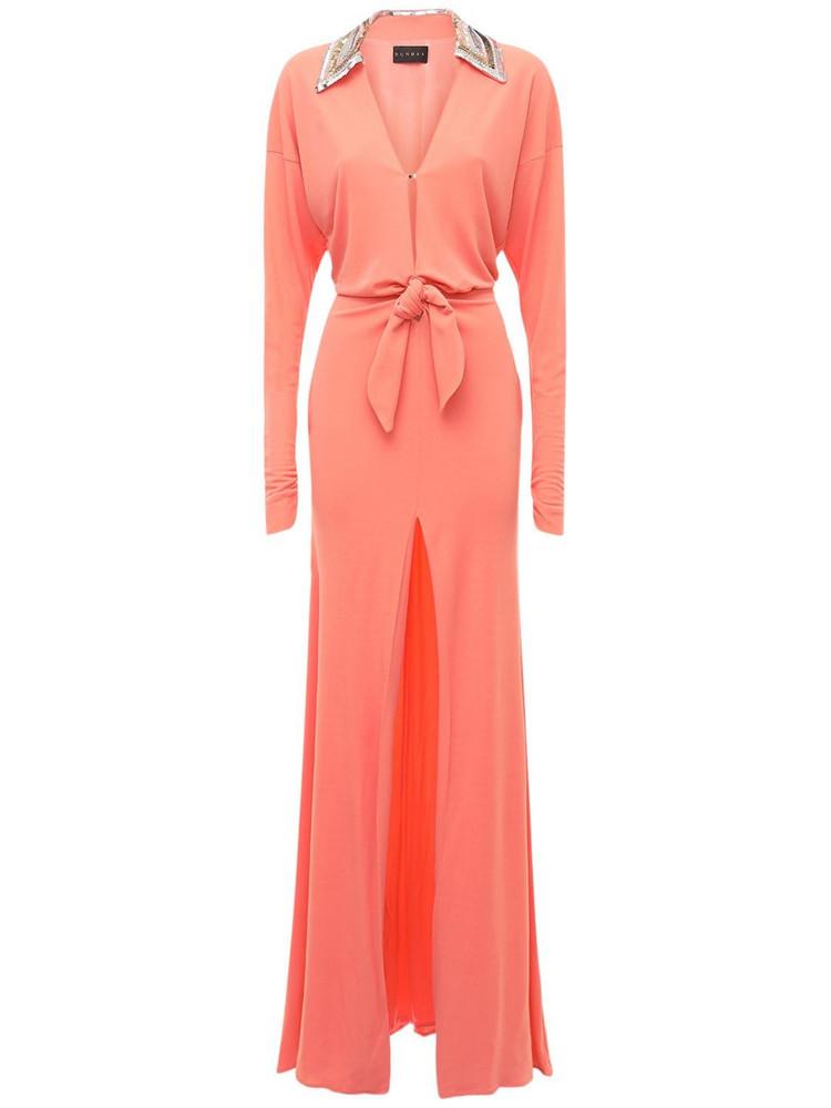 DUNDAS Deep V Neck Jersey Long Dress W/ Sequins in pink