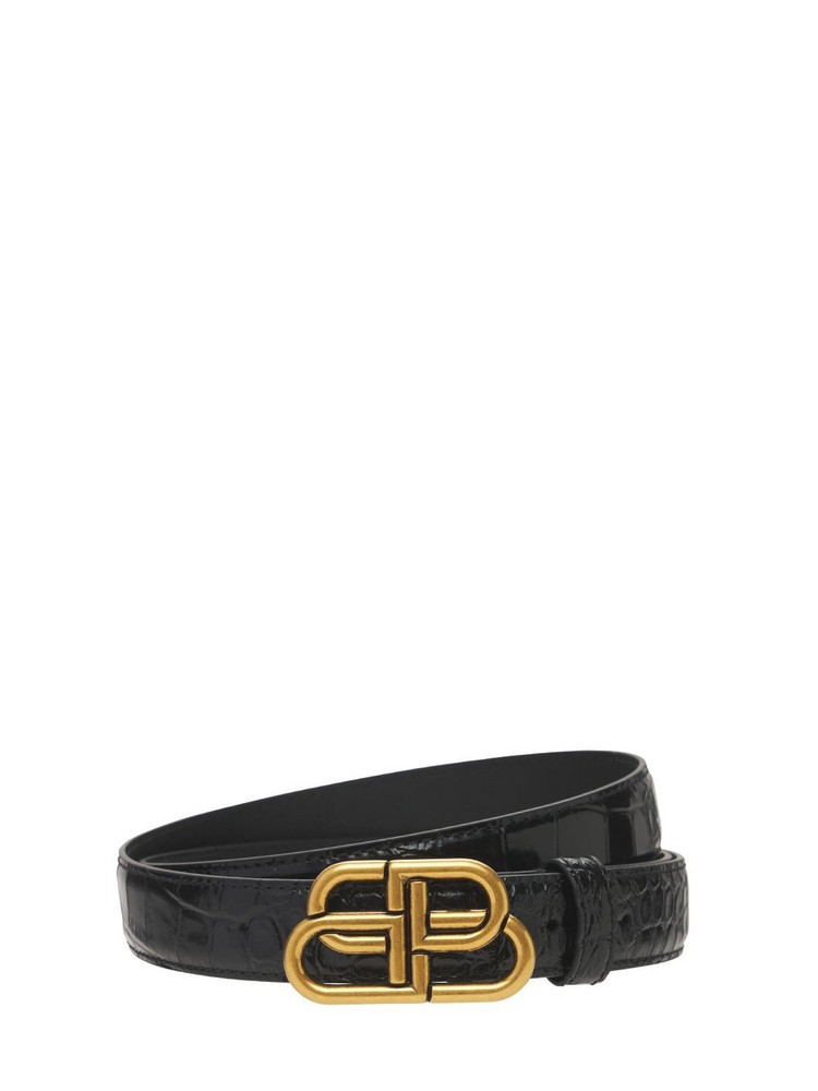 BALENCIAGA 3cm Bb Croc Embossed Leather Belt in black
