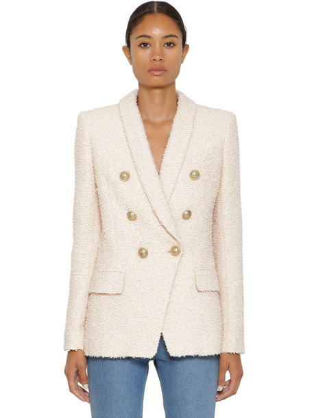 BALMAIN Double Breast Cotton Blend Tweed Jacket in pink