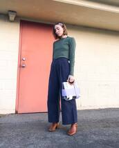pants,blue pants,wide-leg pants,brown boots,handbag,top,long sleeves