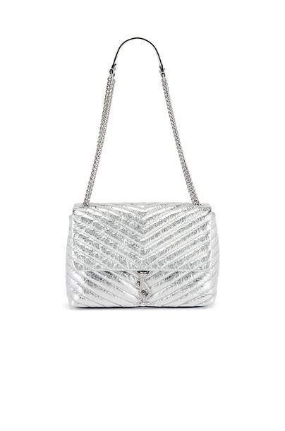 Rebecca Minkoff Edie Flap Shoulder Bag in metallic / silver