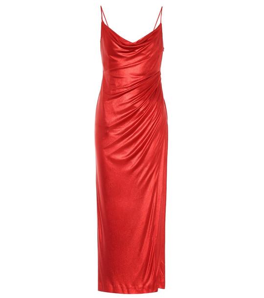 Galvan Mars metallic jersey slip dress in red