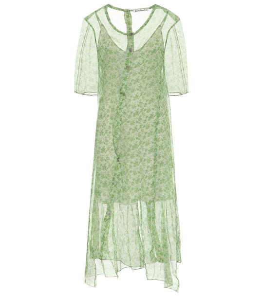 Acne Studios Floral silk chiffon midi dress in green