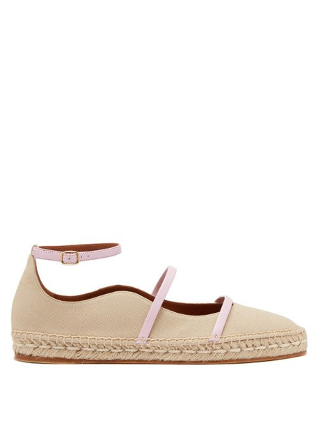 Malone Souliers - Selina Waved Edge Canvas Espadrilles - Womens - Tan