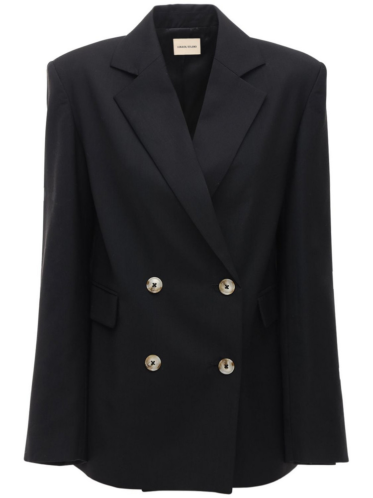 LOULOU STUDIO Tatakoto Wool Double Breasted Blazer in black