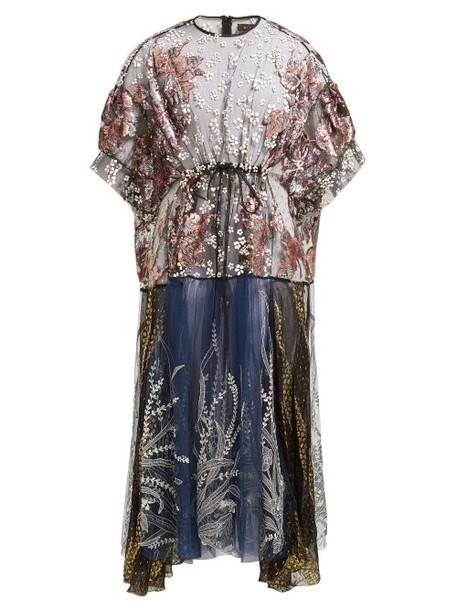 Biyan - Aradela Velvet Fil Coupé Embroidered Dress - Womens - Navy Multi