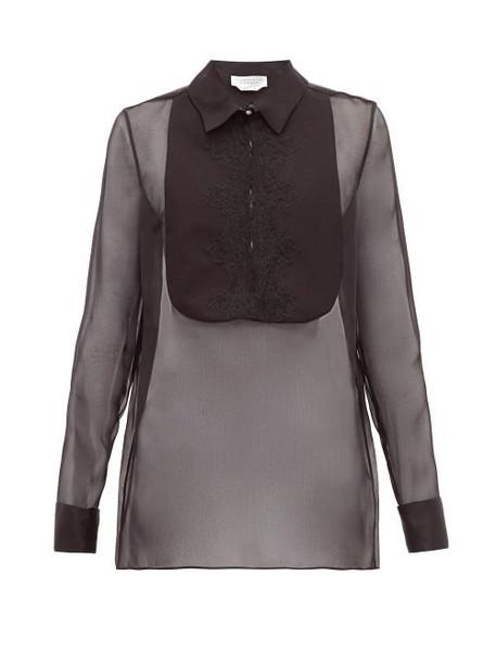 Gabriela Hearst - Oriana Embroidered Bib Organza Shirt - Womens - Black