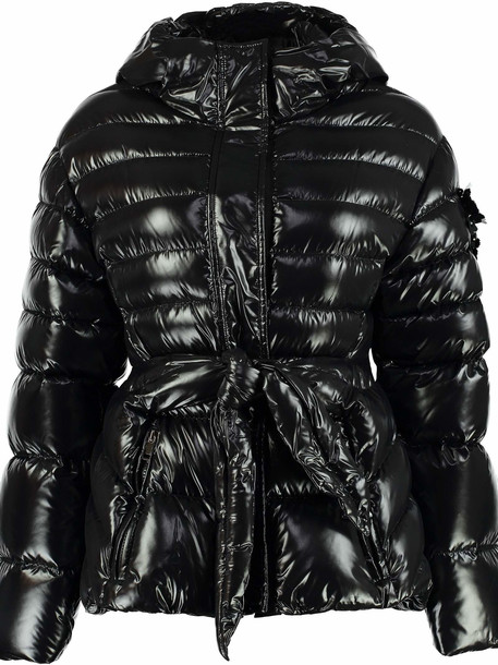 Moncler Lolly Hooded Nylon Laqué Down Jacket in black