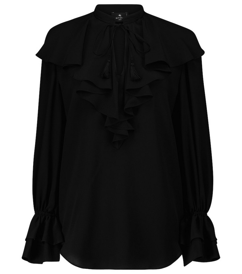 ETRO Ruffled silk crêpe blouse in black