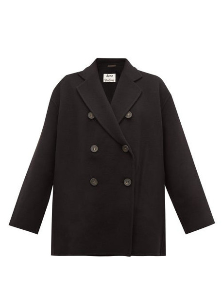 Acne Studios - Odine Double Breasted Wool Peacoat - Womens - Black
