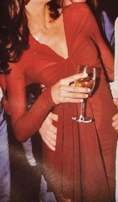 dress,stephanie seymour red front twist v neck long sleeve dress