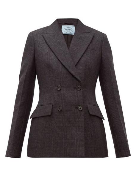 Prada - Double Breasted Wool Blend Jacket - Womens - Dark Grey