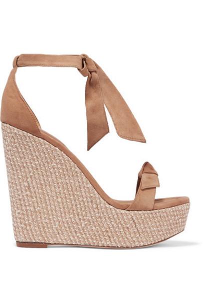 Alexandre Birman - Clarita Bow-embellished Suede Wedge Sandals - Beige
