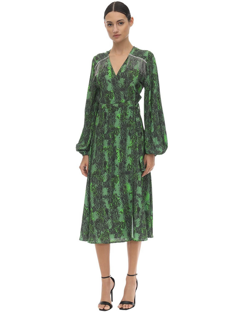 ROTATE Embellished Printed Stretch Midi Dress in green