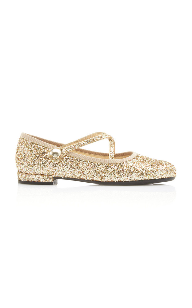 Miu Miu Glittered Ballet Flats in gold