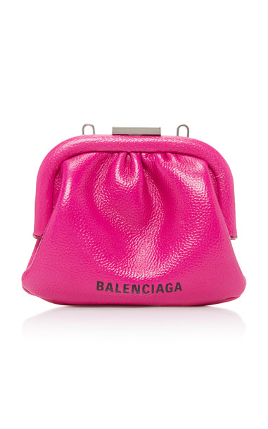 Balenciaga Cloud Grained-Leather Coin Purse in pink
