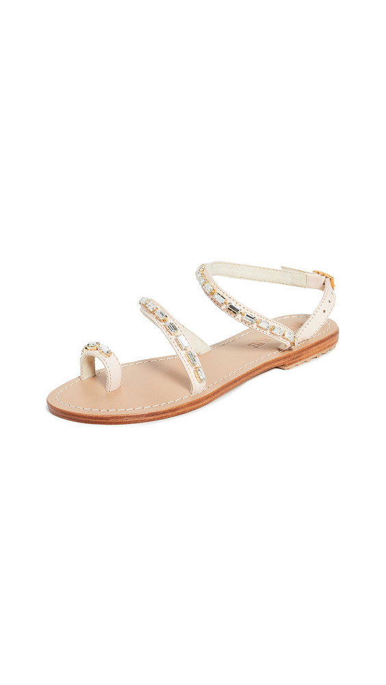 Mystique Jeweled Toe Ring Sandals in pink / clear