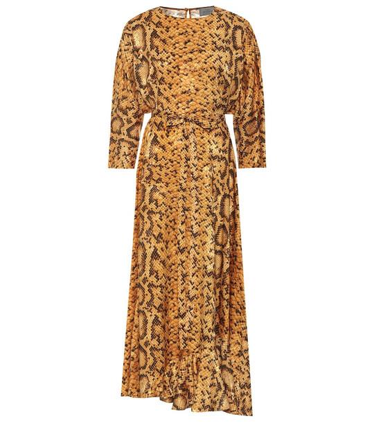Preen by Thornton Bregazzi Claudia snake-print midi dress in yellow