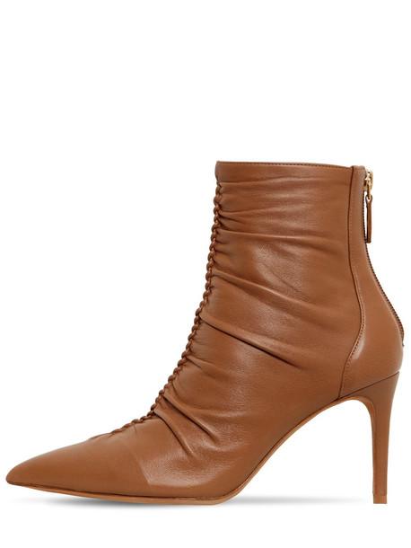 ALEXANDRE BIRMAN 85mm Susanna Leather Ankle Boots in beige