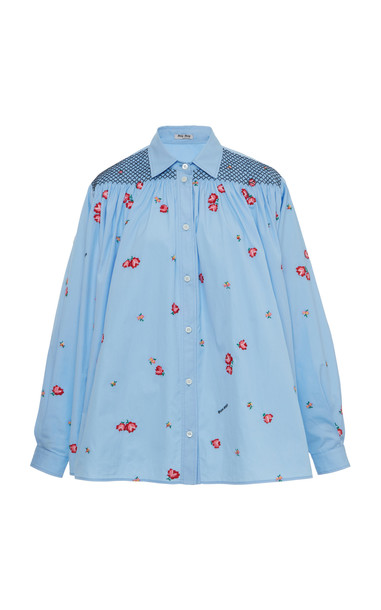 Miu Miu Smocked Button Down Shirt Size: 38 in blue